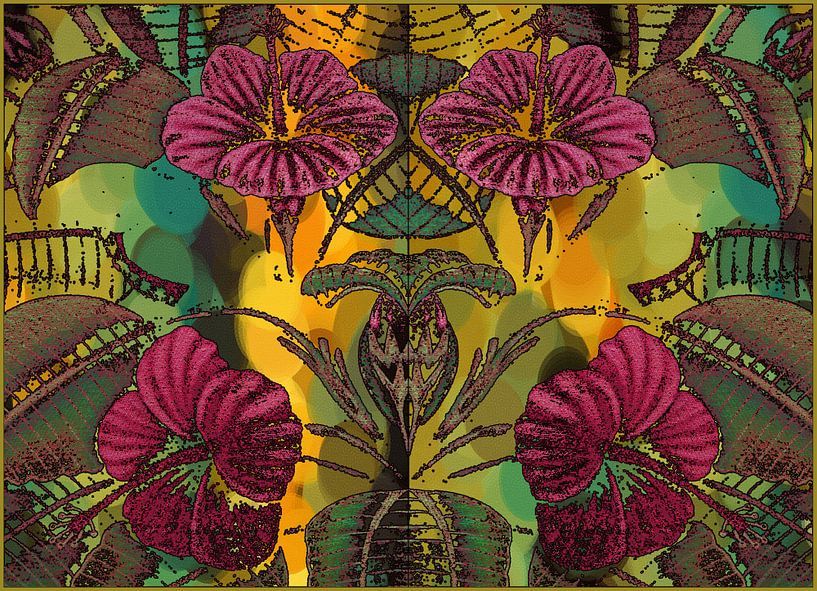 HIBISCUS bloemen en blad van MY ARTIE WALL
