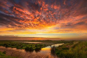 Zonsondergang in oranje van Karla Leeftink