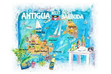 Antigua Barbuda Antillen Illustrierte Karibik Reisekarte mit Highlights der Westindischen Inseln Tra von Markus Bleichner