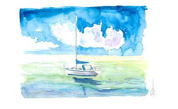 Zeilboot in het turquoise water van het Caribisch gebied van Markus Bleichner