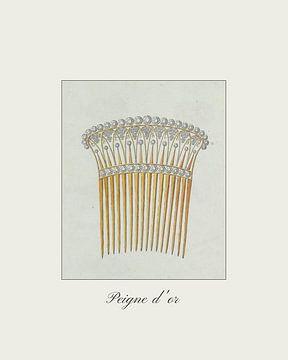 Peigne d'or Vintage-Haarkamm mit Diamanten - Mode, Vintage-Druck von NOONY