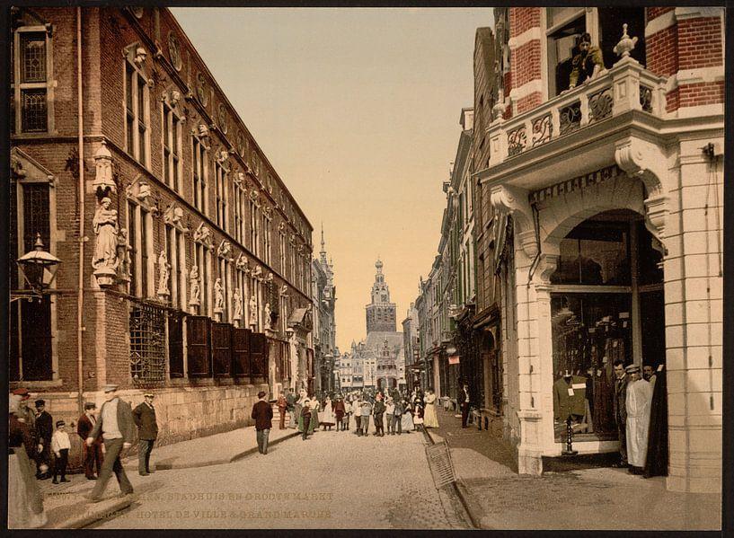 Stadhuis en Grote Markt, Nijmegen van Vintage Afbeeldingen