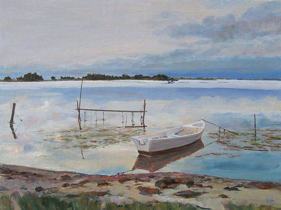 Lake of Leucate in the South of France oil painting on panel 40x55cm 2007  van Hubertine Heijermans