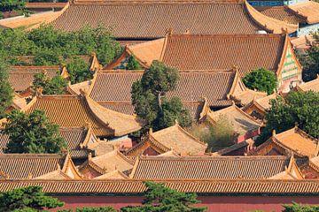 Lucht mening over Peking Palace museum met door paviljoen daken van Tony Vingerhoets