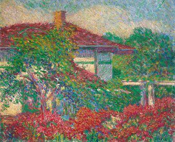Landschaft mit Gebäude mit rotem Dach, Carl Newman
