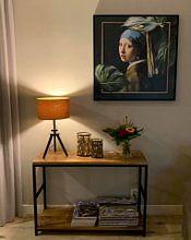 Klantfoto: Meisje met de Parel – The Modern Chique Edition van Marja van den Hurk, op canvas