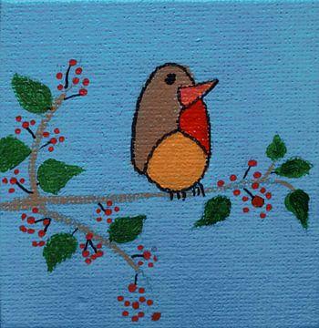 Mini-canvas roodborstje  van Angelique van 't Riet