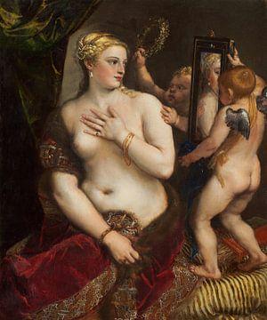 Tizian, Venus mit einem Spiegel - 1555 von Atelier Liesjes