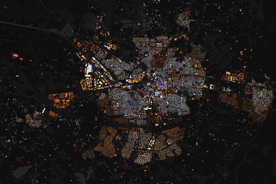 Kaart van Enschede absract van Stef Verdonk