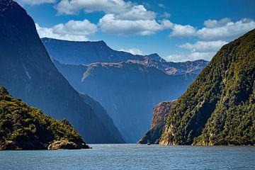 De fjorden van Fiordland NP, Nieuw Zeeland van Rietje Bulthuis
