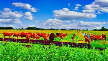 Gruppe von Kühen auf der Weide von Digital Art Nederland