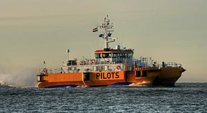 Loodsboot passeert de kustlijn van Zoutelande
