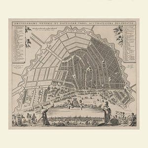 Karte von Amsterdam mit weißem Rahmen, ca. 1652