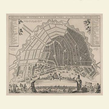 Karte von Amsterdam mit weißem Rahmen, ca. 1652 von Gert Hilbink