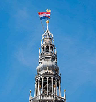 Turm der Noorderkerk am Königstag in Amsterdam von Nisangha Masselink