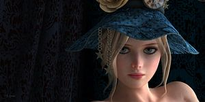 Blond girl with blue hat