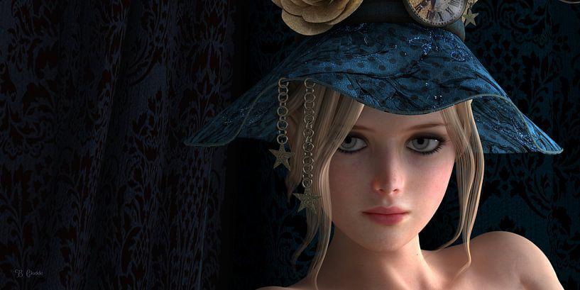 Belle blonde avec chapeau bleu sur Britta Glodde