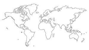 Wereldkaart    Lijntekening in Inkt