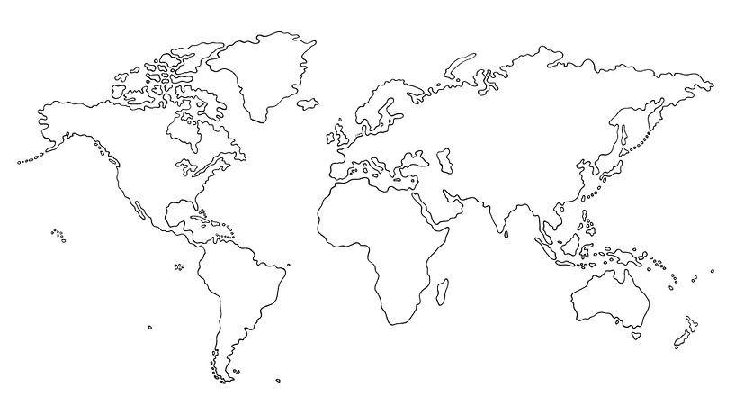 Wereldkaart als Lijntekening met inktpen van Wereldkaarten.Shop
