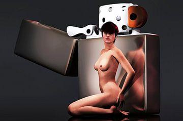 Erotisch naakt - Naakt met gigantische Zippo-aansteker van Jan Keteleer
