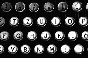 Typemachinetoetsen zijn zwart-wit beeld