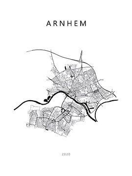 Plattegrond Arnhem in zwartwit van Michel Vedder Photography