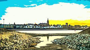 Nijmegen in avondlicht van