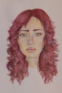 Bildnis eines Mädchens mit rosa Haaren von Iris Kelly Kuntkes