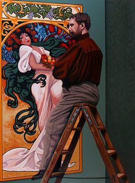 Alfons Mucha Schilderij van Paul Meijering