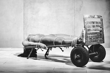 Mooie naakte vrouw vastgebonden met touw op een oude industriele steekkar.  #K2380 van william langeveld