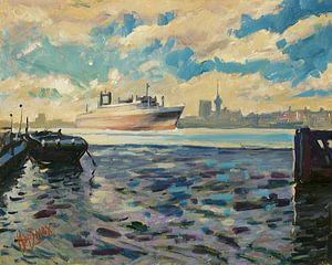Aankomst van de SS Rotterdam in de Maasstad van