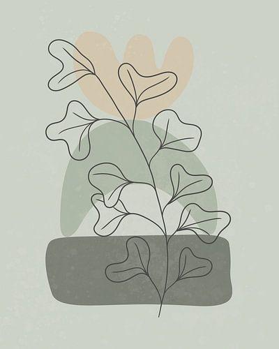 Minimalistisch landschap met een plant met grote bladeren