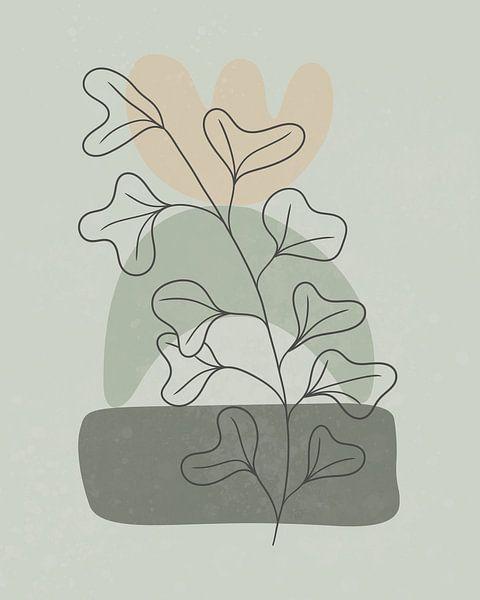 Minimalistisch landschap met een plant met grote bladeren van Tanja Udelhofen