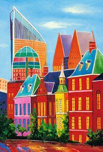 Schilderij skyline van den haag van kunst company op for Skyline schilderij