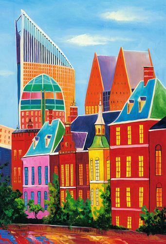 Schilderij skyline van Den Haag van