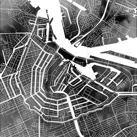 Amsterdam Canal Ring | Plan de la ville sur aquarelle monochrome sur Wereldkaarten.Shop