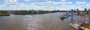 River Elbe at Hamburg #2 van Leopold Brix