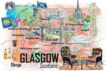 Glasgow Schottland Illustrierte Reisekarte mit Straßen und Highlights von Markus Bleichner