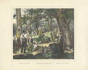 De jacht op vossen, firma Joseph Scholz, 1829 - 1880
