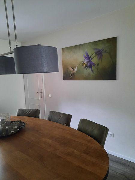 Kundenfoto: Kolibri mit violetter Blüte und grünem Hintergrund von Diana van Tankeren