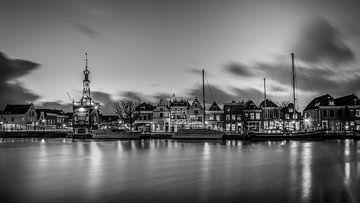 Sonnenuntergang über Alkmaar, Accijnstoren und Bierkade 01 von Arjen Schippers
