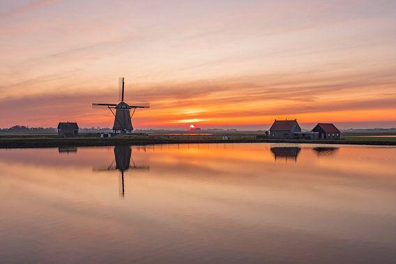 Texel Molen het Noorden zonsondergang
