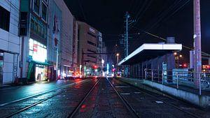 Tram Stop by Night van
