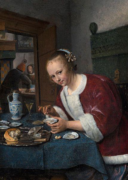 Mädchen isst Austern, Jan Steen von Meesterlijcke Meesters