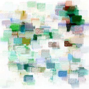 Abstrakt in grünen, blauen und roten Farbtönen