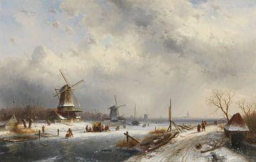 Winterlandschap met drie molens, Charles Leickert sur