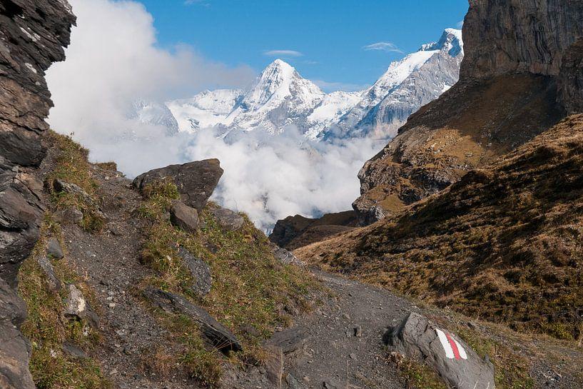 Bergpad in de Zwitserse Alpen van John Faber