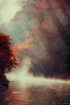 Morning Fog over River van Dirk Wüstenhagen