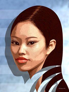 Vrouw Voor Een Blauwe Muur van Ton van Hummel (Alias HUVANTO)
