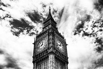 Big Ben schwarz-weiß von Sander Monster